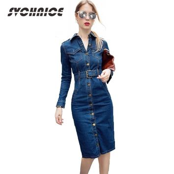f128d8b035 2018 OL Office Sexy Denim Dress Plus Size 3XL 4XL Long Sleeve Je. Gender  Women ...