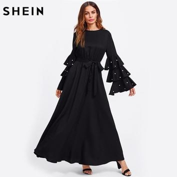 SHEIN Pearl Beading Flare Sleeve Belted Hijab Dress Autumn 2017 Ladies Long Sleeve Maxi Dress Black Fall Dresses