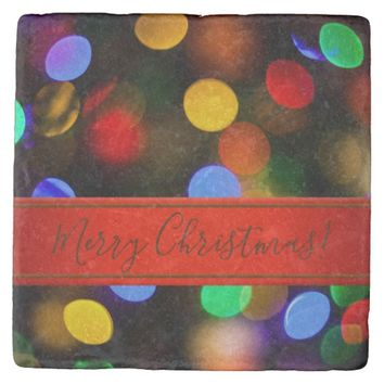 Multicolored Christmas lights. Add text or name. Stone Coaster