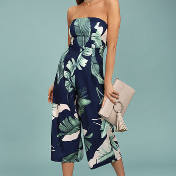 Rainforest Blooms Navy Blue Print Strapless Midi Jumpsuit