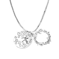 "Sterling Silver ""Mother Daughter Friend Mom"" Two Charm Necklace, 18"""