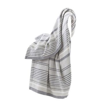 Gradation Ticking Woven Cotton Throw