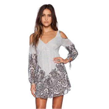 Printed Cutout-Shoulder Sleeve Dress