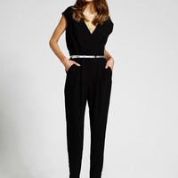 Black Cap Sleeve Crepe Jumpsuit