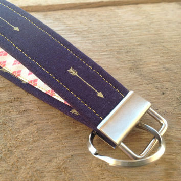 Navy Blue and Gold Arrow Key Fob Wristlet