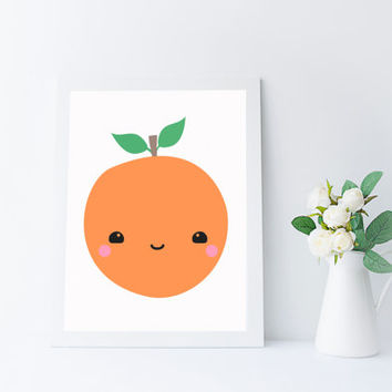 Kawaii Fruit, Orange Print, Kitchen Art, Nursery Printable, Instant Download, Kids Room Wall Art
