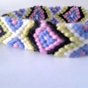 Aztec Pattern Friendship Bracelet - Hand-woven Embroidery Floss Bracelet
