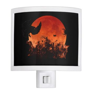 Spooky Blood Moon Scary Birds Halloween Party Night Light