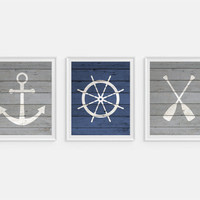 Nautical Art Prints, Oars, Life Saver, Buoy, Anchor, Set of 3 Prints, Faux Wood Art, Nautical Wall Art, Boys Nursery Art, Blue & Gray Art