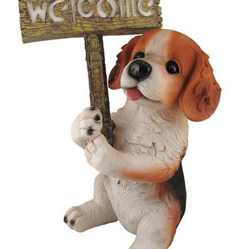 Puppy Dog With Welcome Sign - Led Lighted Solar Powered