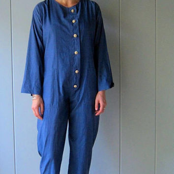 Easy Cotton Jumpsuit Blue Boiler Jumpsuit One Piece Pantsuit Wooden Buttons Minimal Coveralls Baggy Romper Modern Mechanic Suit Women Medium