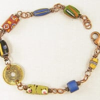 Colorful Trade Bead Bracelet with Copper Wire Wrapping and Coin