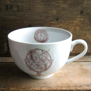 Astrolab and Compass, Moon and Moth, Huge Coffee Mug or Cappuccino Cup 23 oz, Left or Right Handed,  Ready to Ship