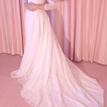 70s Gunne Sax Lace Wedding Gown with Long Sleeves, Train