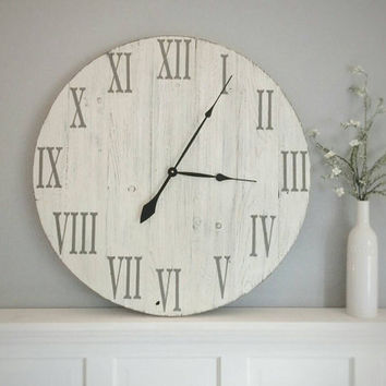 "Roman numeral clock | white distressed clock | farmhouse decor | farmhouse clock | rustic clock | 31"" round clock 