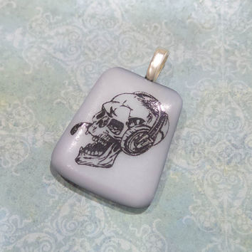 Skull with Headphoes, Fused Glass Pendant, Omega Slide, Halloween - Rock Skeleton - -5