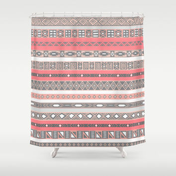 Aztec Print Peach Rose Salmon Grey Shower Curtain by RexLambo