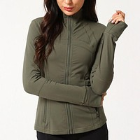 Lululemon Fashion Zipper Embroidery Cardigan Jacket Coat