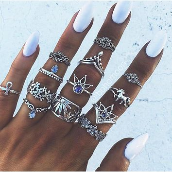 WLP Retro Style Vintage Leaf Boho Jewelry Unique Carving Tibetan silver Color Rings for Woman 13PCS/Set Punk crystal Ring Sets