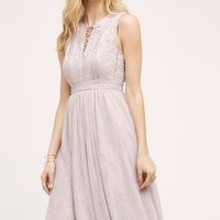 Moulinette Soeurs Embroidered Lace-Up Midi Dress in Lilac Size: