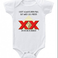 Dos Boobies Onesuit Funny Baby Onesuits Dos Equis Beer Bodysuit Baby Shower Gift Boy T shirt
