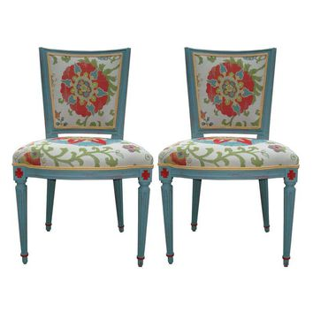 Pre-owned Floral Country French Chairs - a Pair