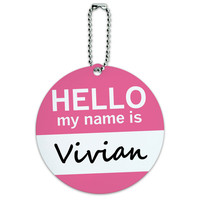 Vivian Hello My Name Is Round ID Card Luggage Tag
