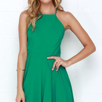 West Coast Swing Green Skater Dress