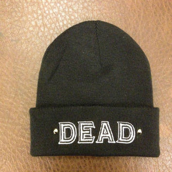DEAD beanie knitted, embroidered and studded.