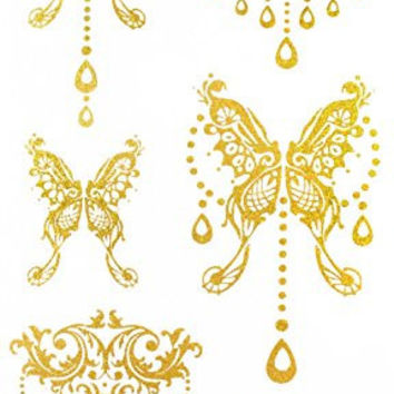"Latest hot selling and fashionable tattoo sticker product dimension 6.69""""x3.74"" jewelry butterfiles Golden gold realistic temporary tattoo stickers"