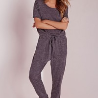 Missguided - Speckle Loungewear Onesuit Grey