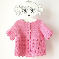 Toddler Cotton Crochet Shrug / Girl Spring Cardigan / Short Sleeved Lace Sweater / Made To Order