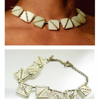 Large 1970s Vintage White Moonstone & Gold Half Moon Chicklet Statement Choker Necklace Elegant Show Stopper