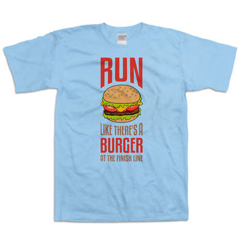 Funny Running Shirt Run Like There's A Burger At The Finish Line Gym Shirts Running Gifts Marathon Runner Exercise Clothes Mens Tee WT-38