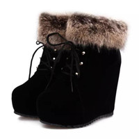 Snow Fur Boots  Ankle Lace Up High Heel Botas Shoes Platforms Round Toe  Footwear Size 35-39