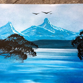 Mountain art Mountain painting Mountain landscape Trees landscape Blue landscape Blue and White Painting Grey White Wall Art Sea mountain