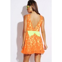 neon orange lace green bow tie backless A line retro skater cocktail dress