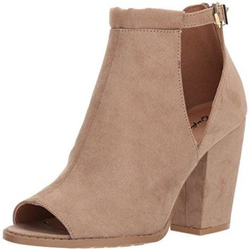 Qupid Women's Peep Toe Bootie With Open Side Panel Heeled Sandal, Dark Taupe Suede Polyurethane, 8 M US
