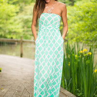 Lattice Go Maxi Dress, Green-White
