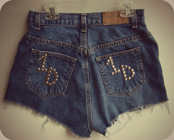 One Direction Shorts High Waisted 26 Inch Waist by shortyshorts