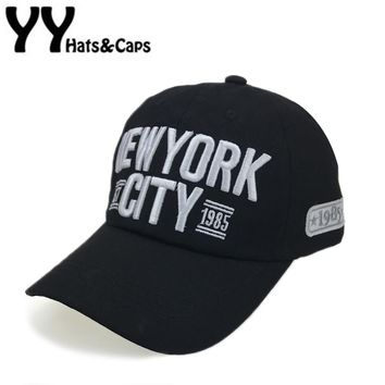 Embroidery New York City Baseball Cap Men Cotton Dad Hats Women Snapback Hat Curved Ball Cap USA Distressed Vintage CAPS YY17184
