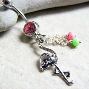 Tropical Flamingo Belly Ring with Colorful Beads