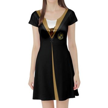 Harry Potter Hufflepuff Inspired Short Sleeve Skater Dress