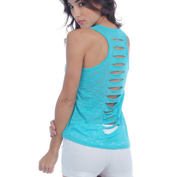Burnout Racer Back Tank with Back Cuts