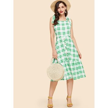 Green Tartan Plaid Self Tie Ruffle Dress