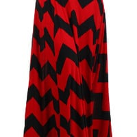 Chevron striped maxi skirt with a high, fold-over waist and a flared hem.