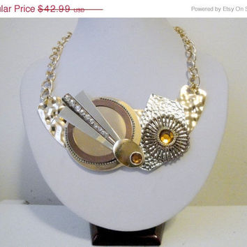 Free Shipping: Steampunk Necklace, Steam Punk, Steampunk Jewelry, Geeky Necklace Gold, Silver, Bronze