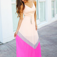 Light Peach Pleated Maxi Dress