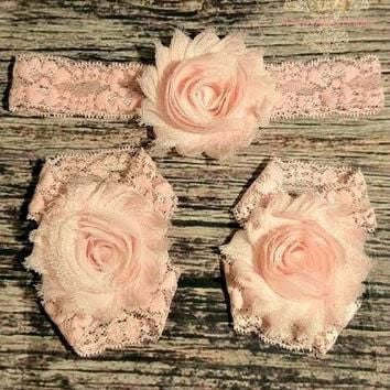 Light Pink Shabby and Lace Headband and Barefoot Sandals Set