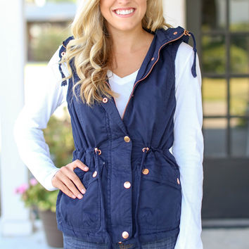 Fur Lined Utility Vest - Navy